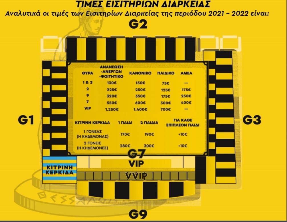Στη διάθεση του κόσμου τέθηκαν από την ΠΑΕ Άρης τα εισιτήρια διαρκείας της σεζόν 2021/22, όπως γνωστοποίησαν οι «κίτρινοι» την Τρίτη (1/6).