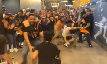 Να που ακόμη και στο NBA πέφτουν... μπουκετίδια μεταξύ οπαδών. Δεύτερο περιστατικό βίας σε ματς των πλέι οφ, πρωταγωνιστές και πάλι οι οπαδοί των Σανς!