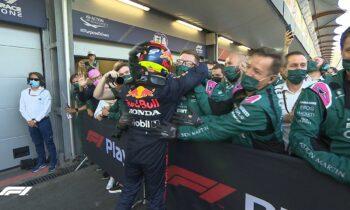 Τεράστια νίκη Σέρχιο Πέρεζ και Red Bull. Χαρμολύπη για την Red Bull μετά το σκασμένο ελαστικό του Φερστάπεν και την απώλεια της 1ης θέσης.