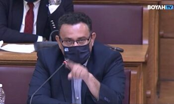 O βουλευτής του ΚΚΕ Μανώλης Συντυχάκης μιλώντας στην αρμόδια επιτροπή της Βουλής για το σχέδιο νόμου του υπουργείου Πολιτισμού και Αθλητισμού