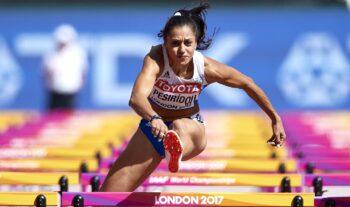 Η Ελισάβετ Πεσιρίδου δυστυχώς ένιωσε το πρόβλημα στο πόδι της και σταμάτησε από την αρχή της κούρσας στην 3η σειρά στα 100μ. εμπόδια.