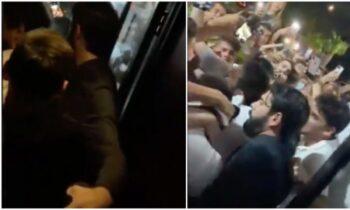 Φρενίτιδα! Εκατοντάδες θαυμαστές του Μέσι τον περικύκλωσαν έξω από ένα cafe στο Μαϊάμι, καθώς αποχωρούσε με τη συνοδεία σωματοφυλάκων.