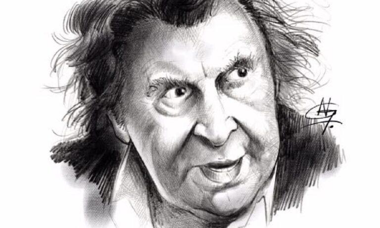Ο σκιτσογραφος της Sportime Νίκος Γκιόλιας, και μέλος της Ορχήστρας «Μίκης Θεοδωράκης» για τα 96 χρόνια του Μίκη!