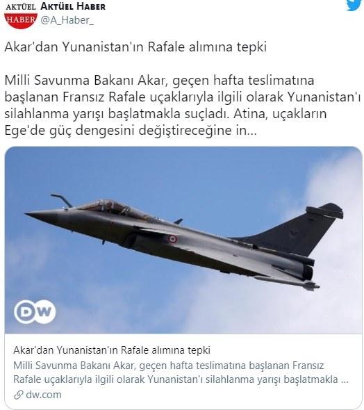 Rafale: Δεν αλλάζει τίποτα με λίγα αεροπλάνα λέει ο Ακάρ, με δηλώσεις του αναφορικά με την αγορά από την Ελλάδα των νέων γαλλικών μαχητικών.