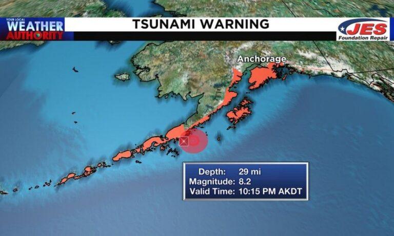 Σεισμός 8,2 ρίχτες στην Αλάσκα – Προειδοποιήση για τσουνάμι