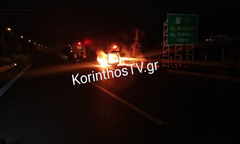 Φωτιά σε εν κινήσει αυτοκίνητο στην Κορίνθου Τριπόλεως – video
