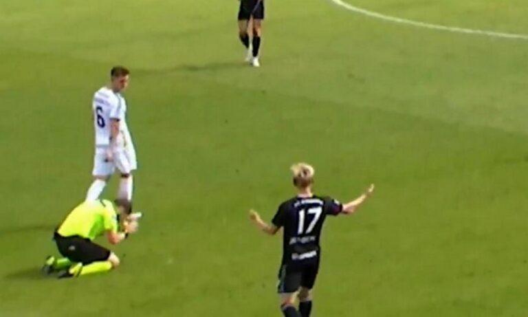 Απίθανο σκηνικό: Διαιτητής συνειδητοποίησε το λάθος του και γονάτισε μετανιωμένος! (vid)
