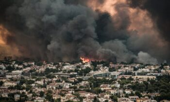 Fire in Varybombi, Athens Greece 2021