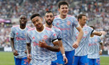 Οι παίκτες της Μάντσεστερ Γιουνάιτεντ πανγυρίζουν στη νίκη επί της Γουέστ Χαμ με 2-1