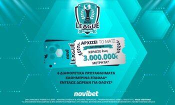 Η νέα Novileague ξεκινά στις 14 Σεπτεμβρίου 2021, με κορυφαίο έπαθλο τα 3.000.000€* και καθημερινά δώρα*… Ακόμα μεγαλύτερα έπαθλα και δράση!