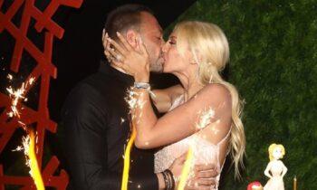 Κωνσταντίνα Σπυροπούλου και Βασίλης Σταθοκωστόπουλος στο πάρτι γενεθλίων της παρουσιάστριας