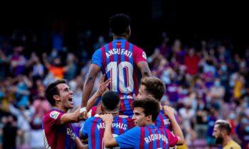 Η Μπαρτσελόνα επιβλήθηκε 3-0 της Λεβάντε για την 7η στροφή της La Liga με τον Ανσού Φατί να γράφει ιστορία