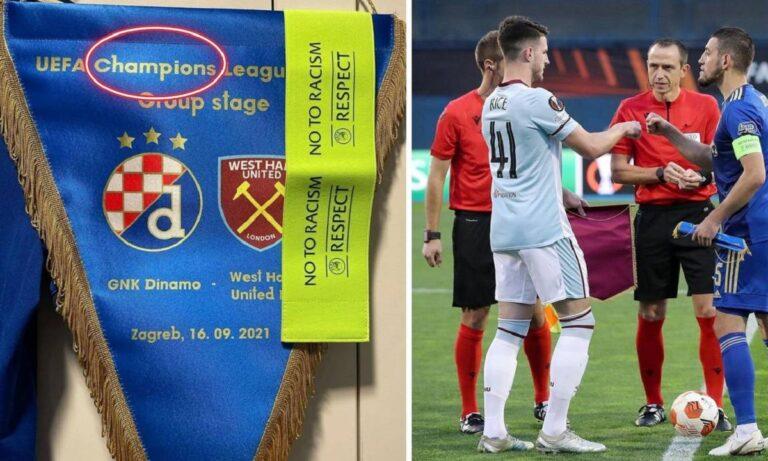 Ντιναμό Ζάγκρεμπ: Επική γκάφα στο λάβαρο του αγώνα με τη Γουέστ Χαμ – Champions League αντί… Europa! (pic)