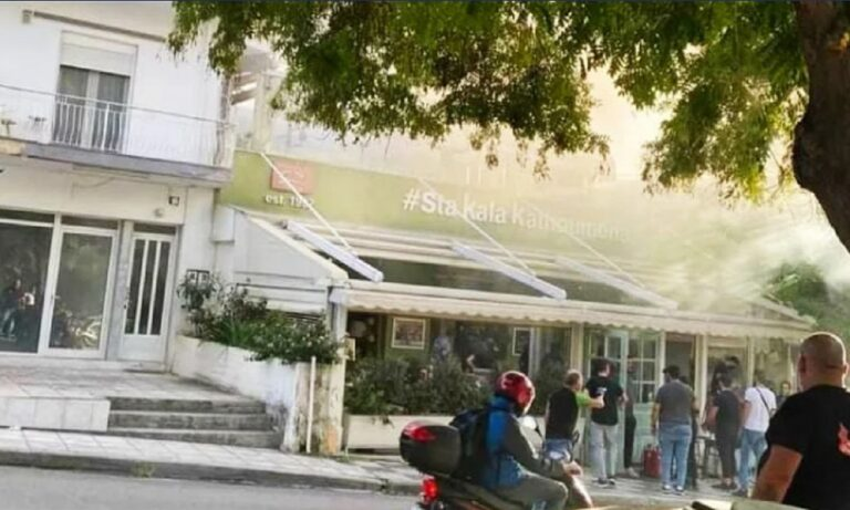 Θεσσαλονίκη: Πήρε φωτιά το μαγαζί που έφαγαν Μαρινάκης και Καρυπίδης (vid)