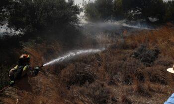 Πυροσβέστης εν δράσει σε προ ημερών φωτιά που είχε ξεσπάσει στην Αττική
