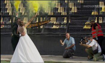 Άρης: Με τα δεσμά του γάμου στο... Κλεάνθης Βικελίδης ενώθηκε ένα ζευγάρι το οποίο προφανώς και είναι φανατικοί οπαδοί των «κιτρινόμαυρων»!