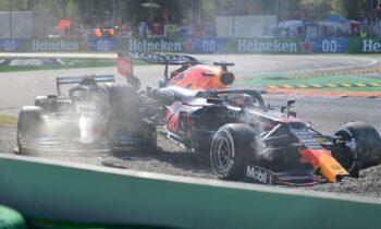 Τρομακτική σύγκρουση στο Grand Prix της Formula 1 ανάμεσα στον Μαξ Φερστάπεν και Λιούις Χάμιλτον
