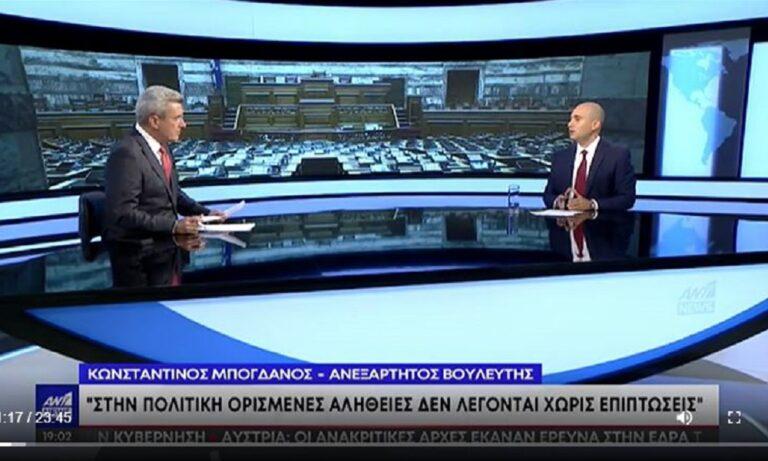 Ο Μπογδάνος, ο Χατζηνικολάου και οι… κόκκινες γραβάτες στη συνέντευξή του στον ΑΝΤ1