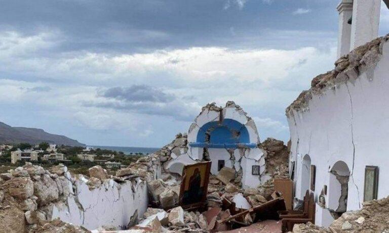 Σεισμός – Κρήτη: Κατέρρευσε εκκλησία στον Ξηρόκαμπο Σητείας (pics)